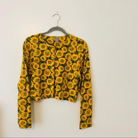 3061d73dc4ed9 Vintage Espirit Sunflower Print Cardigan/Top